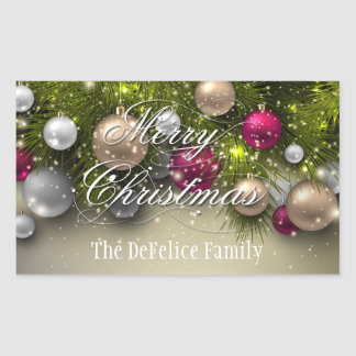 Adesivo Retangular O feriado do Natal Ornaments a multi cor