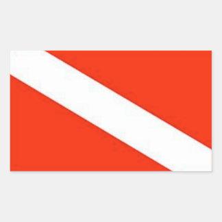 Adesivo Retangular O mergulhador clássico embandeira para baixo