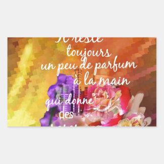 Adesivo Retangular O perfume dos rosas ainda permanece na mão