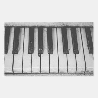 Adesivo Retangular O piano velho do vintage fecha Stickera