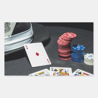 Adesivo Retangular O póquer carda o chapéu do gângster