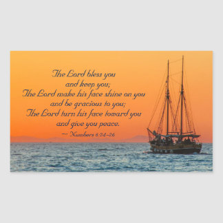 Adesivo Retangular O senhor Bênção Você, 6:24 dos números - 26, navio