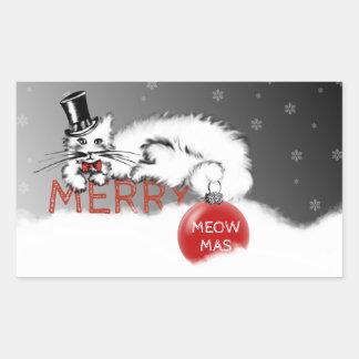 Adesivo Retangular O senhor Gato envia seus desejos do Natal!