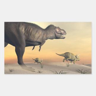 Adesivo Retangular O Triceratops que escapa dos tiranossauros 3D