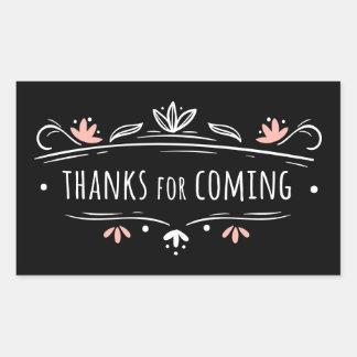 Adesivo Retangular Obrigado a festa de casamento floral preta, branca