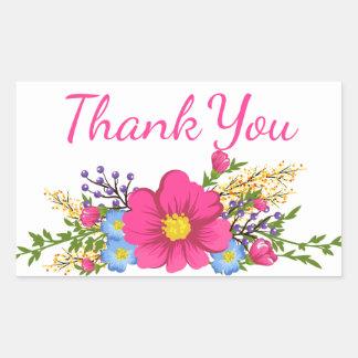 Adesivo Retangular Obrigado cor-de-rosa floral você aguarela floresce
