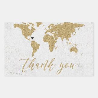 Adesivo Retangular Obrigado do casamento do destino do mapa do mundo