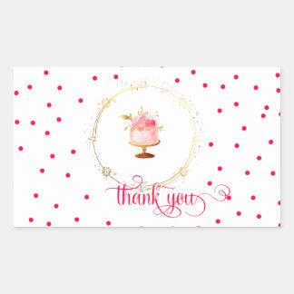 Adesivo Retangular Obrigado do cupcake do ★ você