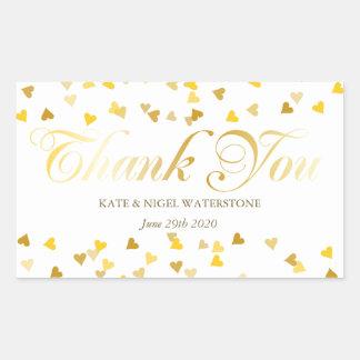 Adesivo Retangular Obrigado dos confetes dos corações do roteiro e do