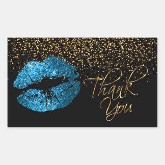 Adesivo Retangular Obrigado - os lábios de turquesa com confetes do