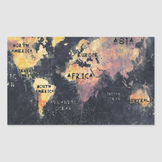 Adesivo Retangular OCEANOS e continentes do mapa do mundo