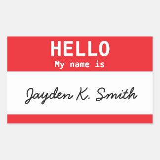Adesivo Retangular Olá!, meu nome é Nametag de Jayden K. Smith