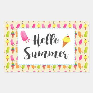 Adesivo Retangular Olá! Popsicles e sorvete do verão