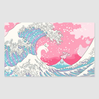 Adesivo Retangular Onda cor-de-rosa de Psychodelic Bubblegum Kunagawa