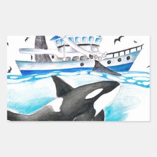 Adesivo Retangular Orca e o barco