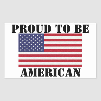 Adesivo Retangular Orgulhoso patriótico e poderoso ser americano