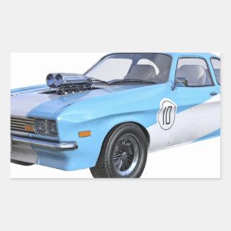 Adesivo Retangular os anos 70 azuis e carro branco do músculo