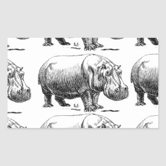 Adesivo Retangular ouro do hippopotamus