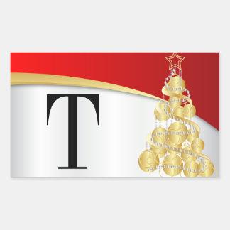 Adesivo Retangular Ouro do monograma & Feliz Natal vermelho
