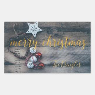 Adesivo Retangular Ouro rústico do Feliz Natal personalizado