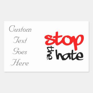 Adesivo Retangular Pare o ódio