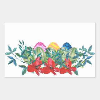 Adesivo Retangular Páscoa, flor, ovos, aguarela