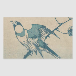 Adesivo Retangular Pássaro azul