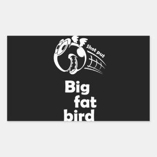 Adesivo Retangular Pássaro psto tiro gordo grande