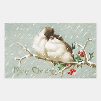 Adesivo Retangular Pássaros do natal vintage