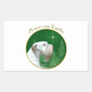 Adesivo Retangular Paz de Sealyham Terrier na terra