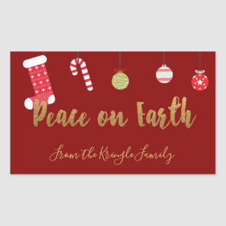 Adesivo Retangular Paz no Natal personalizado da terra ouro vermelho