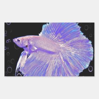 Adesivo Retangular Peixes de combate roxos iridescentes