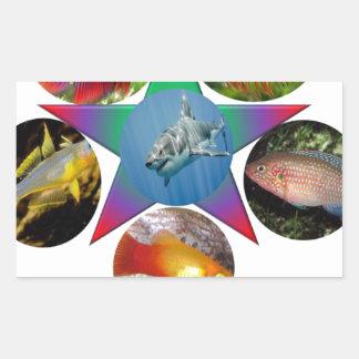 Adesivo Retangular peixes, peixe dourado, carpa, pesca, mar, oceano,