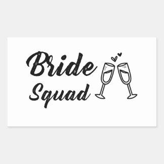Adesivo Retangular Pelotão da noiva com vidro de Champagne