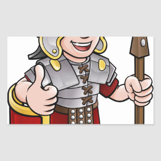 Adesivo Retangular Personagem de desenho animado romano do soldado