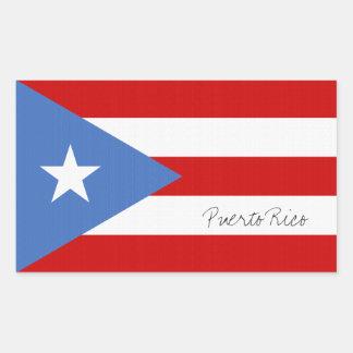 Adesivo Retangular Personalizado, bandeira de Puerto Rico