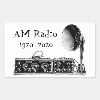 Adesivo Retangular Personalize o receptor de rádio do AM do vintage