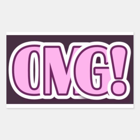 Adesivo Retangular pink and purple OMG sticker