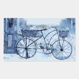 Adesivo Retangular Pintura de cena azul da rua da bicicleta