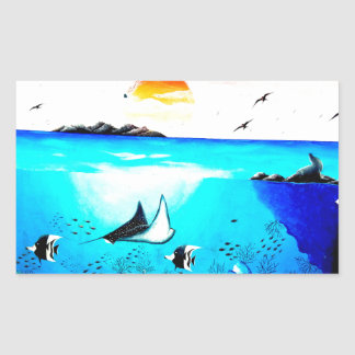 Adesivo Retangular Pintura de cena subaquática bonita