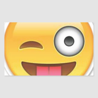 Adesivo Retangular Piscar os olhos insolente do emoji do smiley
