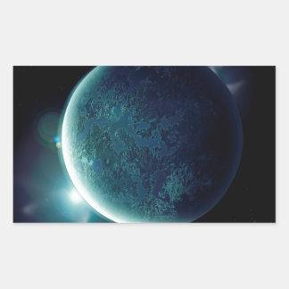 Adesivo Retangular planeta verde no universo com aura e estrelas
