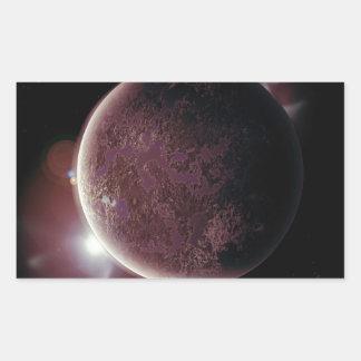 Adesivo Retangular planeta vermelho no universo com aura e estrelas
