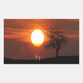 Adesivo Retangular Por do sol, árvore, pássaros, Weimaraner, cão