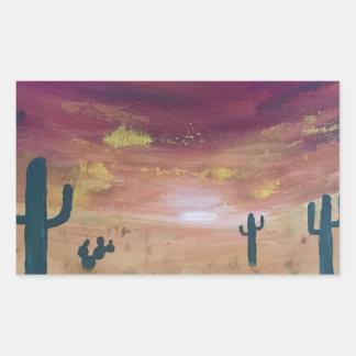 Adesivo Retangular Por do sol do deserto