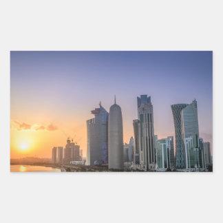 Adesivo Retangular Por do sol sobre a cidade de Doha, Qatar