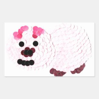 Adesivo Retangular Porco cor-de-rosa