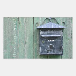 Adesivo Retangular Postcrossing feliz! Caixa postal