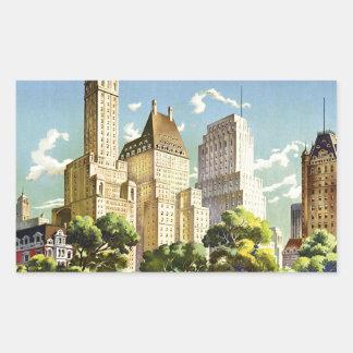 Adesivo Retangular Poster vintage do Central Park da Nova Iorque