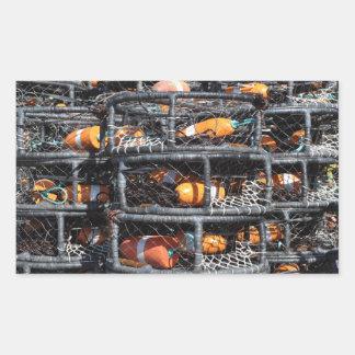 Adesivo Retangular Potes de caranguejo empilhados pescando